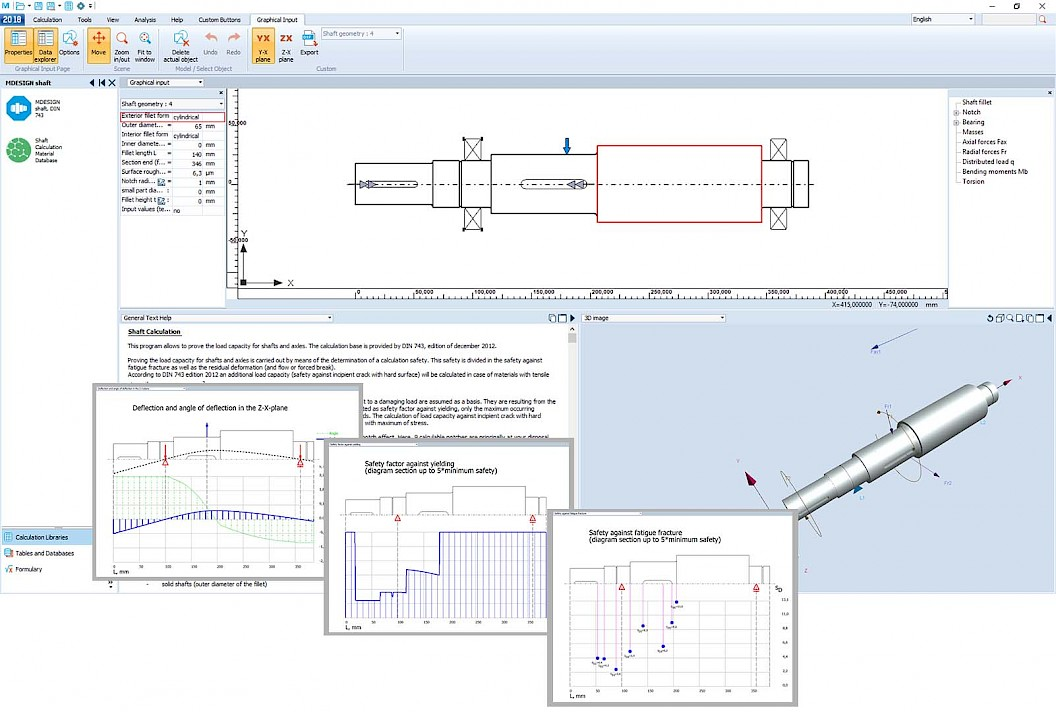 Calculation of shafts according to DIN 743 | MDESIGN shaft