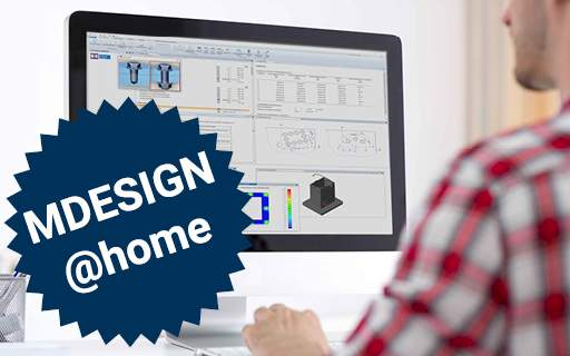 Use MDESIGN at home - screen with calculation tool MDESIGN